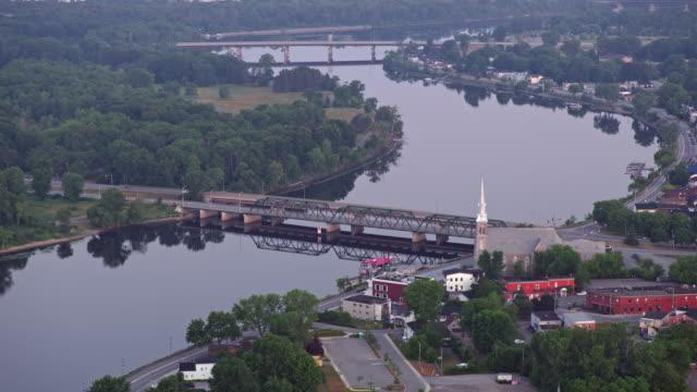 AERIAL Lady Aberdeen Bridge crossing the Gatineau River in Gatineau, Quebec