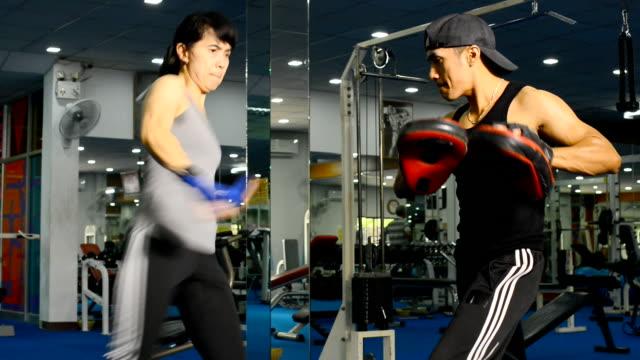 Lady doing Muay Thai (Kickboxing) exercise. video