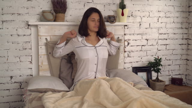 Lady enjoy beginning of the day in flat video