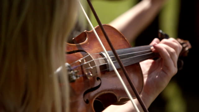 A Lady Hand Playing the Violin
