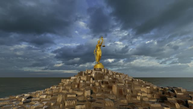 Lady of Justice towering pile of gold