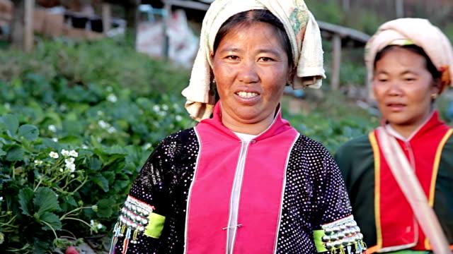 tribù di collina lahu donna. - costume tradizionale video stock e b–roll