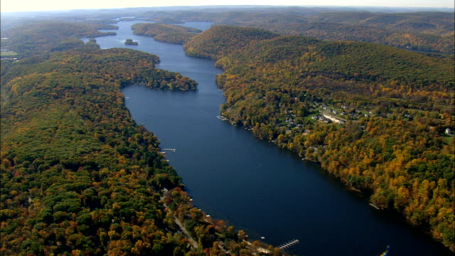Lake Candlewood  - Aerial View - Connecticut,  Litchfield County,  United States This clip was filmed by Skyworks on HDCAM SR 4:4:4 using the Cineflex gimbal. Connecticut,  Litchfield County,   United States connecticut stock videos & royalty-free footage