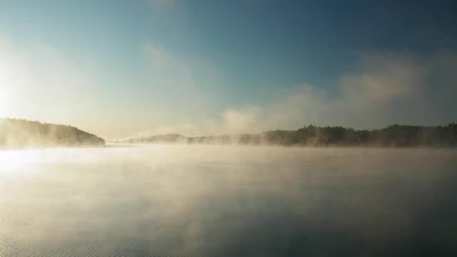 En sjö täckt av vacker dimma på en Höstmorgon video