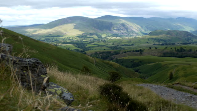 Lake District scenery with path from above video