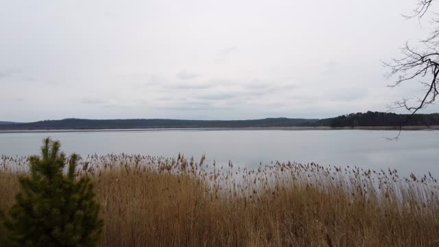 Lake evening drone footage cloudy video