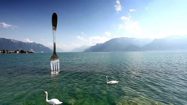 Lake Geneva and the Swiss Alps at Vevey video