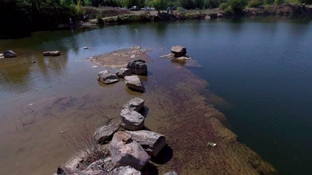 lake in aerial view - vídeo