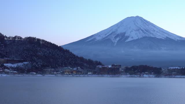lake Kawaguchiko landscape and mountain on winter season, Japan. video