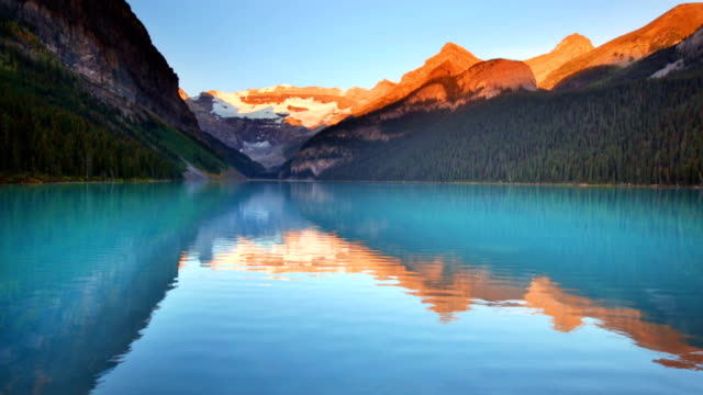lake louise, banff national park, canada at sunrise - lakes stock videos and b-roll footage
