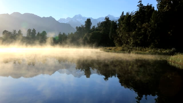 lake matheson panorama at sunrise, new zealand - lakes stock videos and b-roll footage