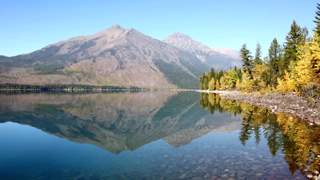 Lake McDonald Glacier National Park Fall Colors and Reflection video