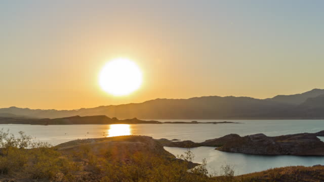 Lake Mead and Fishing Boat in the morning video