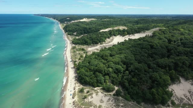 Lake Michigan and Warren Dunes State Park Aerial View
