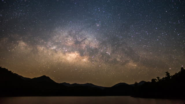 lake mountain and milky way on the sky before sunrise and morning time - cielo stellato video stock e b–roll