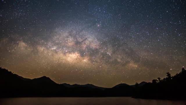 vídeos de stock e filmes b-roll de lake mountain and milky way on the sky before sunrise and morning time - céu a noite