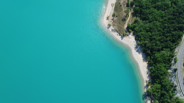 Lake of Sainte-Croix in the Verdon Regional Natural Park in the Var in France as seen from the sky
