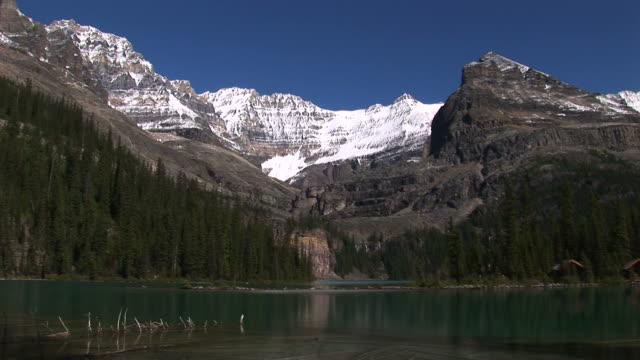 Lake O'Hara with soaring glacial mountains. video