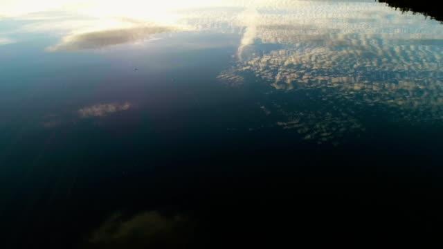 vidéos et rushes de surface du lac vue d'en haut. nuages reflétant dans l'eau - lac reflection lake