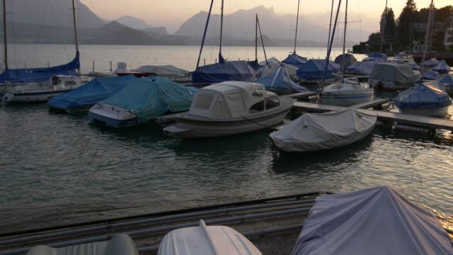 Lake Thun. Boats in the Marina. Interlaken Region, Switzerland video