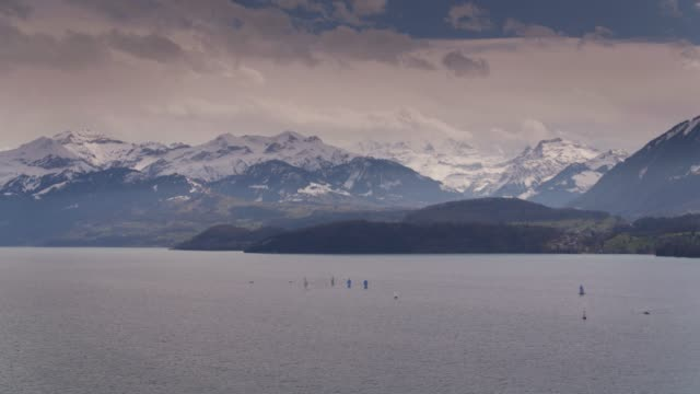 Lake Thurn and Snowcapped Mountains, Switzerland video