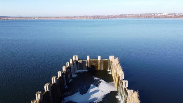 Lake under blue cloudy sky aero video