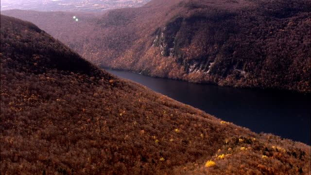 lake Willoughby - Aerial View - New Hampshire,  Coös County,  United States video