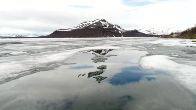 Lake with ice in Norweigian highlands video