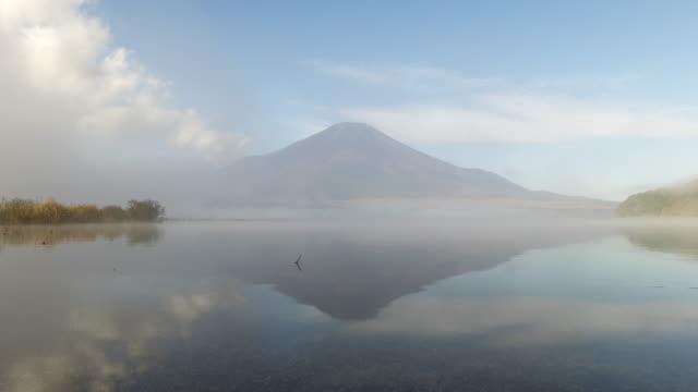 Lake Yamanakako and mt.Fuji with clouds video