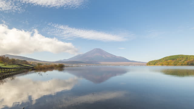 Lake Yamanakako with mt.Fuji in the morning time lapse video