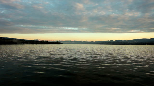 Lake Zurich at sunset - time lapse video