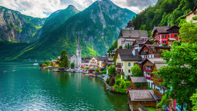 Lakeside Village Of Hallstatt In Austria Stock Video - Download Video Clip Now - iStock