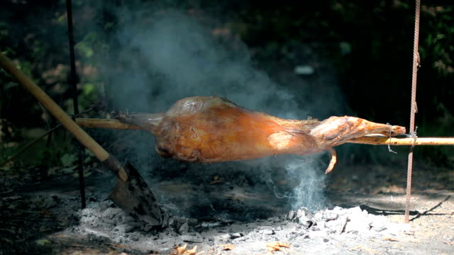 Lamb on spit roasting video