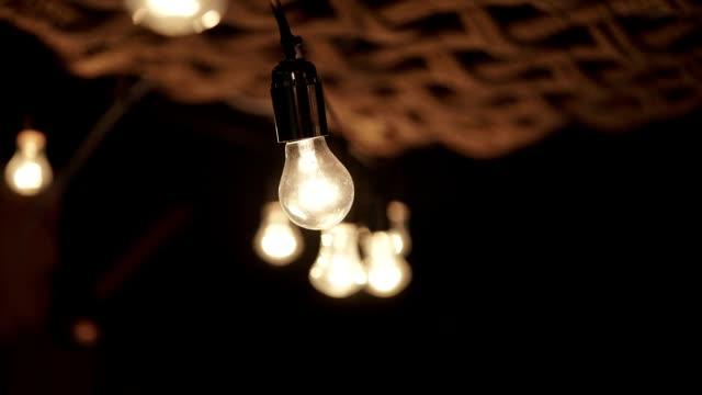 Lamp garland in interior video