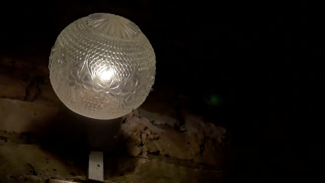 lamp night lantern light around flying insects slow motion video video