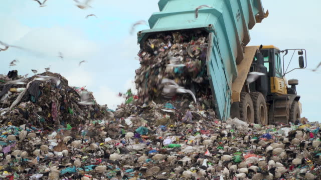 landfill with garbage trucks unloading junk - clima video stock e b–roll