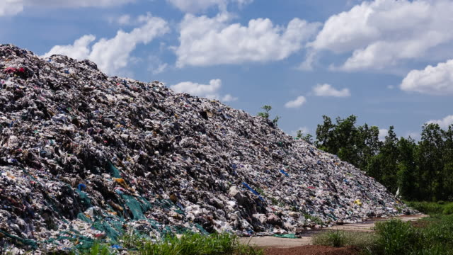 Landfill with moving clouds - Time Lapse video