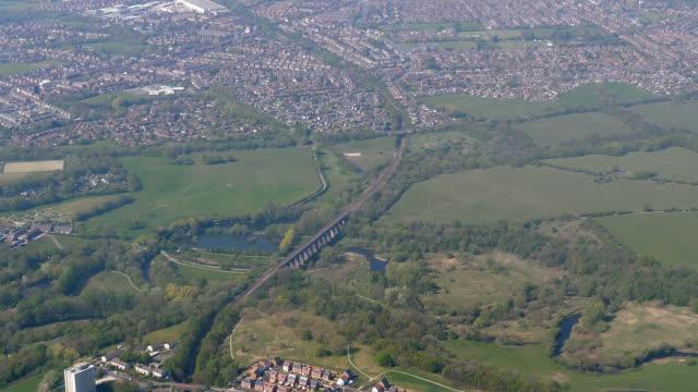 Landing aircraft view of railway bridge near Manchester