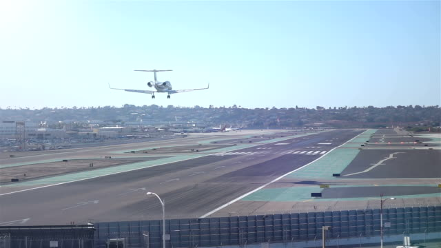 Landing airplane in slow motion video