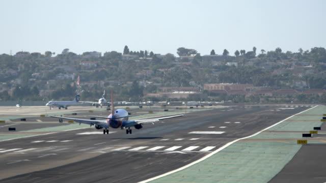 Landing airplane in slow motion video