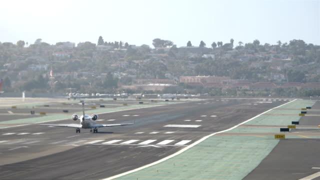 Landing airplane Jet in California 4K video
