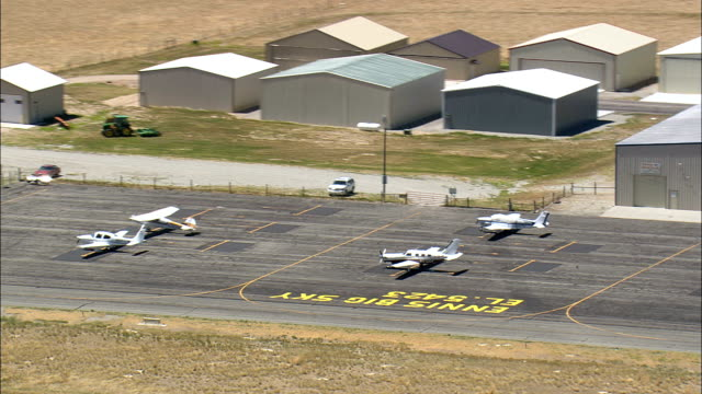 Landing At Ennis Big Sky Airport  - Aerial View - Montana, Madison County, United States video