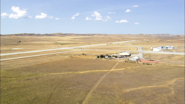 Landing At Gillette Airport  - Aerial View - Wyoming, Campbell County, United States video