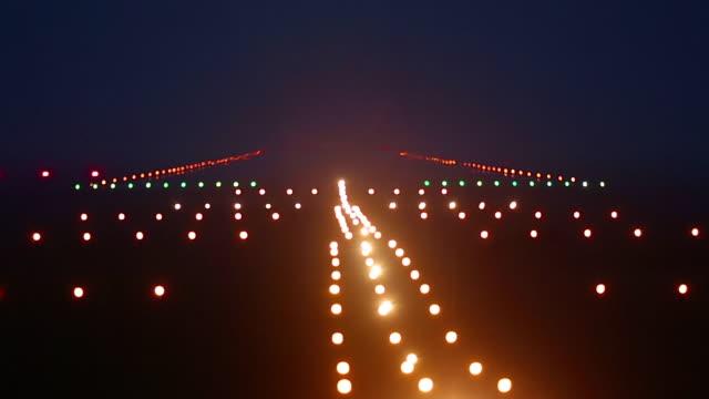Landing lights runway airport video