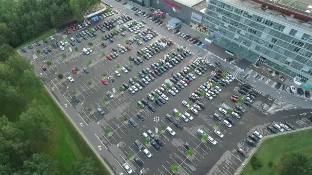 Landing Over Parking Near Supermarket video