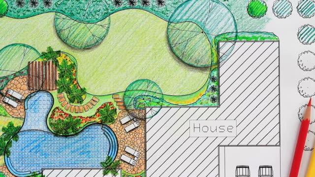 vídeos y material grabado en eventos de stock de arquitecto paisajista de diseño de jardín de la villa - backyard pool