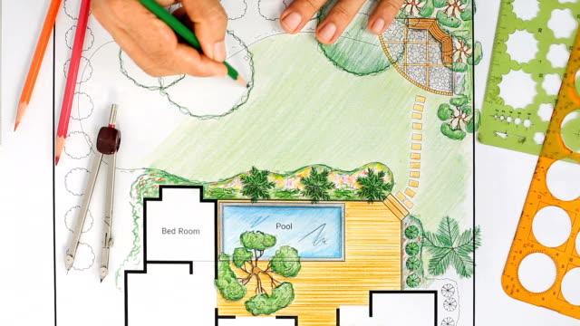 Landscape architect design backyard plan for villa video