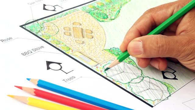 landschaftsarchitekt design garten plan - gärtnerisch gestaltet stock-videos und b-roll-filmmaterial