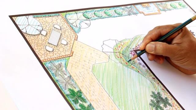 landschaftsarchitekt design garten plan - parkanlage stock-videos und b-roll-filmmaterial