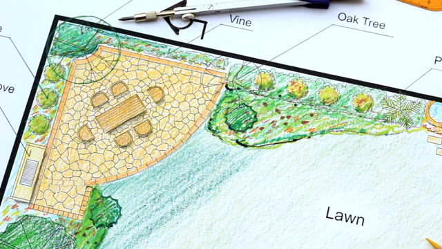 Landscape architect design L shape garden plan video